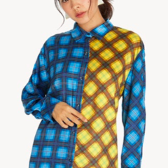 Oversized Two Tone Plaid Shirt - Blue