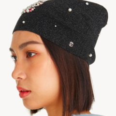Faux Pearl Diamante Beanie - Black