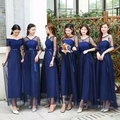 Dress Bridesmaid Model Slim, Gaya Korea, Warna Biru Navy