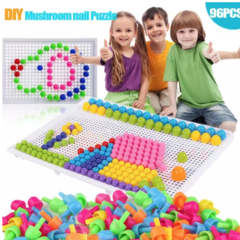 Children Toys Puzzle Peg Board With 96 Mushroom Pegs Model Kits