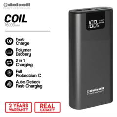 Delcell 16000mAh Powerbank COIL Real Capacity Digital Display Polymer Battery Fast Charging Garansi Resmi 2 Tahun Power Bank Murah Berkualitas - Black