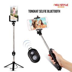 New Style - Bluetooth selfie stick Tongsis 3in1 Tongsis Tripod + Tongsis Bluetooth - Hitam