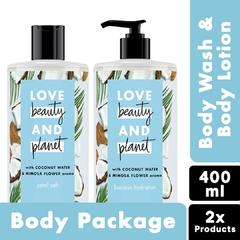 Love Beauty Planet Coconut Water & Mimosa Flower Body Lotion 400ml + Body Wash 400ml