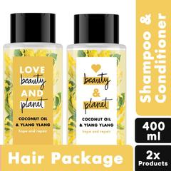 LOVE BEAUTY PLANET SHAMPOO + CONDITIONER COCONUT OIL & YLANG YLANG 400ML