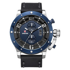 Expedition E 6381 MC LTUBU Chronograph Men Blue Dial Black Leather Strap [EXF-6381-MCLTUBU]