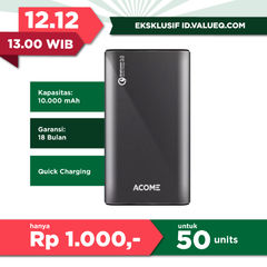 ACOME Power Bank 10000mAh Fast Charging Quick Charge 3.0 - 2 USB Output - Garansi Resmi 18 Bulan - AP102