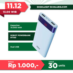 ROBOT Power Bank 10000mAh Lighting Micro Usb Input with LCD - Garansi Resmi 1 Tahun - RT150