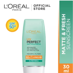 L'Oreal Paris UV Perfect Matte & Fresh Sunscreen Skin Care SPF 50/PA ++++ - 30ml [ Sunblock Waterproof Dengan Hasil Matte Dan Ringan ]