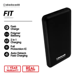 Delcell 12000mAh Powerbank FIT Real Capacity Slim Power Bank Fast Charging Build in Cable