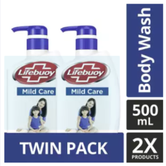 Lifebuoy Sabun Mandi Cair Mild Care Pump 500ML Twin Pack