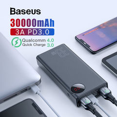 Baseus 30000mAh Power Bank Quick Charge 3.0 + Type C PD 3.0 Portable External Battery Charger LED Powerbank Fast Phone Charger -Black
