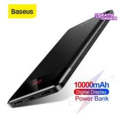 Baseus 10000mAh Super Mini Power Bank For iPhone X Xiaomi OPPO Handphone Powerbank Portable Dual USB Digital Display Charger Power bank - Black