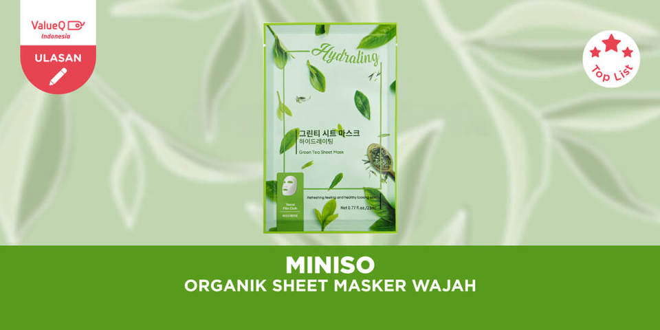 Miniso Official Green Tea Aloe Peel Off Hydrating Moisturizing Organik Sheet Masker Wajah