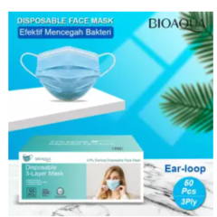 BIOAQUA Official READY 1 Box isi 50pcs Masker 3Ply Mulut Wajah Medis